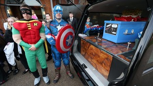 Robin and Captain America were among the pallbearers