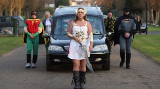 Co-op Funeralcare funeral director Cindi Gordon dressed as She-Ra to lead the funeral cortege