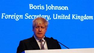 Boris Johnson speaks at a summit in Bahrain.