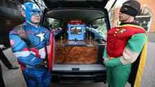 Superhero funeral held for bullied teen
