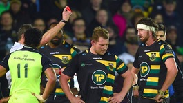 Dylan Hartley sees red card for Northampton Saints