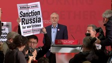 Jeremy Corbyn speech disrupted by human rights protesters