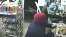 Armed raid on store captured on CCTV