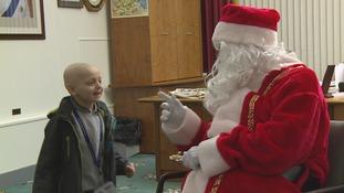Bradley meeting Father Christmas.