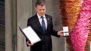 Colombia's President Juan Manuel Santos accepts Nobel Peace Prize