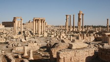 Ancient ruins in the historic city of Palmyra.