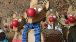 One of the Cholwill's handcrafted wooden reindeer