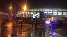 Emergency services outside the stadium.