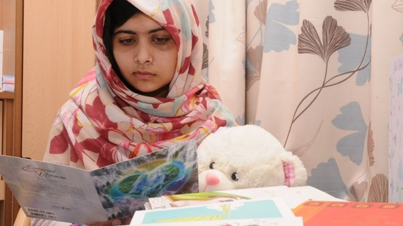 Malala pictured at the Queen Elizabeth Hospital Birmingham, where she is currently being treated.