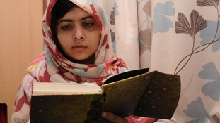Malala, who was tragically shot last month in Pakistan, reads goodwill messages.
