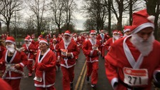 Santas racing through Carlisle.