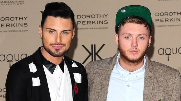 X Factor's Rylan Clark (left) and James Arthur.