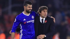 Antonio Conte with Diego Costa of Chelsea