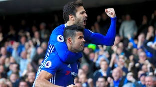 Cesc Fabregas and Diego Costa of Chelsea