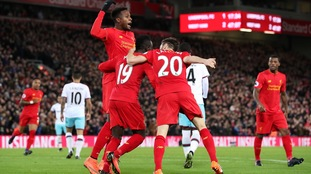 Liverpool's Divock Origi scores vs West Ham