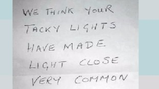 Anonymous note tells neighbours their Christmas lights are 'tacky'