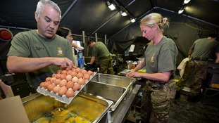 Royal Air Force No 3. Mobile Catering Squadron helping support homeless charity Centrepoint