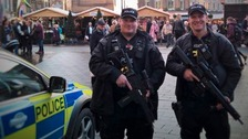 Northumbria Police firearms officers on patrol at the Newcastle Christmas markets