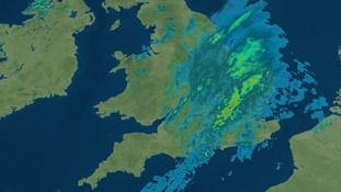 Radar image taken at 7pm on Saturday 10 December 2016 showing the heavy rain over East Anglia.
