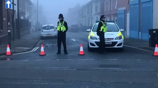 Police cordon off a street in Derby