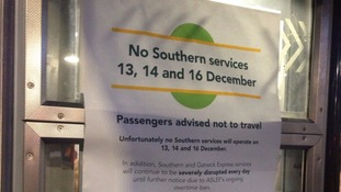 Southern poster tells passengers 'not to travel' during strikes