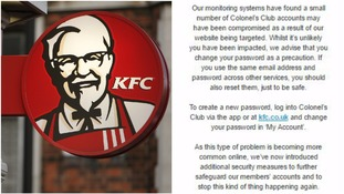 KFC website hacked: Loyalty scheme members warned to change password