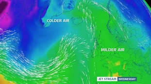 Jet stream loops north of the UK this week, leaving us on the milder side