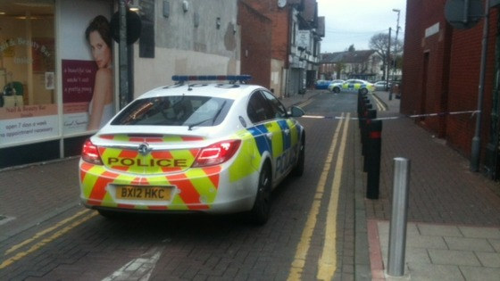 The man was found on Coton Lane, slumped against a wall with a stab wound