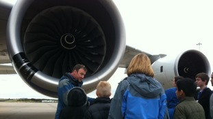 Schoolchildren being shown the Airbus A380