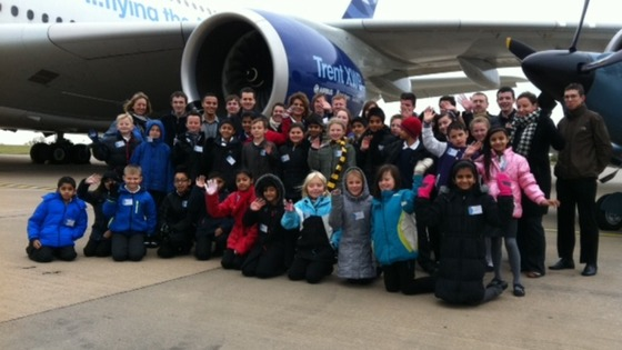 This large party of schoolchildren is overshadowed by the Airbus A380