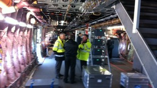 View of the inside of the Airbus A380. It's currently a shell as the plane is being used to test the Trent XWB engine.