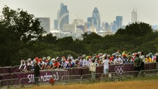 Riders race through Richmond Park in London during the Women's Road Race on the second day of the London 2012 Olympic Games.