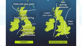 Forecast for Tuesday and Wednesday night - the peak of the Geminds meteor shower