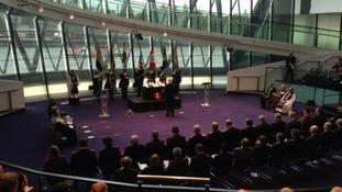 Boris Johnson at London Assembly's remembrance service.