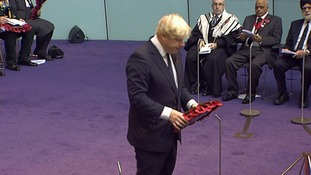 Mayor of London Boris Johnson laying wreath at Service of Remembrance for London's war dead.