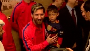 Young Afghan Lionel Messi fan in plastic shirt meets his hero