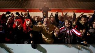 Stourbridge fans celebrate an historic win