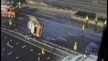 M6: A lorry overturned causing oil to spill across the carriageway