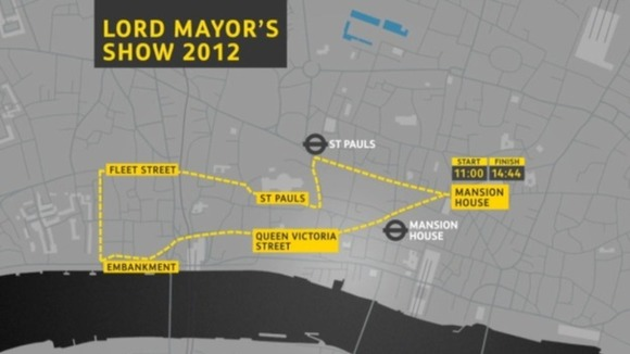 Route of the Lord Mayor&#x27;s Show on 10th November.