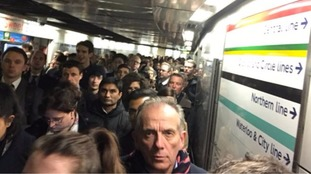 Commuters waiting after Bank station was shut