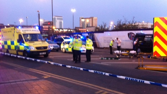 Road closed after crash with police and ambulances