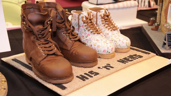 A cake that looks like two pairs of boots