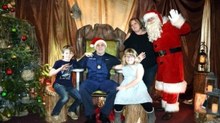 Military dad makes his children's wishes come true with surprise reunion in Santa's grotto