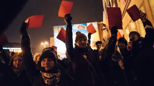 Protesters in Poland block access to parliament  over media restrictions