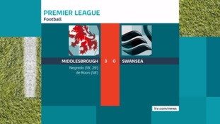 Full Time: Middlesbrough 3 - 0 Swansea