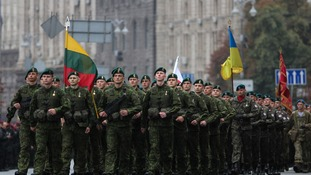A Ukrainian Armed Forces military unit marches at Kiev's Independence Square