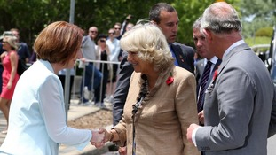 Australia's Prime Minister Julia Gillard greeting Camilla and Charles at an unveiling ceremony in honour of the Queen in Canberra Australia.