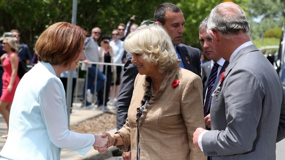 Australia&#x27;s Prime Minister Julia Gillard greeting Camilla and Charles at an unveiling ceremony in honour of the Queen in Canberra Australia.