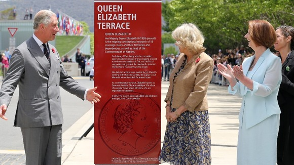 The Prince of Wales and The Duchess of Cornwall unveiling Queen Elizabeth Terrace, as Australian PM Julia Gillard looks on.