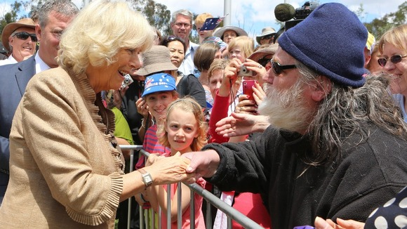 The Duchess of Cornwall meeting the public at the unveiling ceremony in honour of the Queen's Diamond Jubilee, in Canberra Australia.